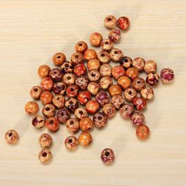 90 a 100 stuks Houten kralen met motief 10 mm