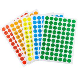 5 stickervelletjes cijfers 10mm rood - groen - oranje - blauw - geel