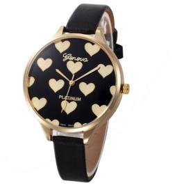 Dames horloge zwart met goudkleurige hartjes