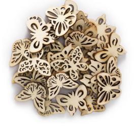30 stuks houten vlinders 32x25mm