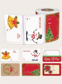 Rol met 250 stuks kerst cadeau stickers - kerst labels 7.5 x 5 cm