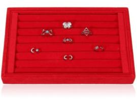 Ringen display fluweel rood 23x14.5cm