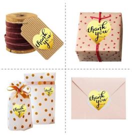 500 stickers op rol hart goudkleur Thank You 2.5 cm