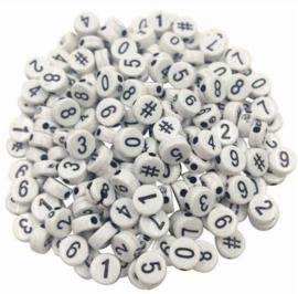 500 stuks kralen rond met cijfers 3.7mm