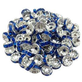 50 stuks Zilverkleurige kralen met blauwe strass 8mm