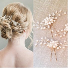 Haarspeld pareltjes en strass - bruidsaccessoire