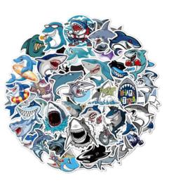 50 stuks stickers haaien 8-6 cm