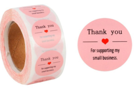 500 stickers op rol Thank You for supporting my small business roze 2,5 cm