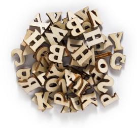 100 stuks houten letters naturel 7-16mm
