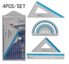 Geometric kit - meet set - 2 x drie hoeken - Liniaal 15 cm - Gradenboog