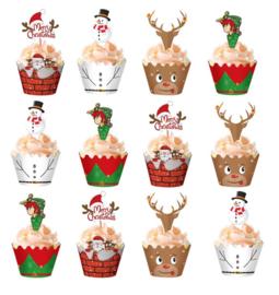 24 stuks cupcake omslagen kerst + 24 toppers