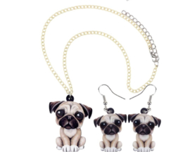 Ketting + oorbellen Franse Bulldog acryl