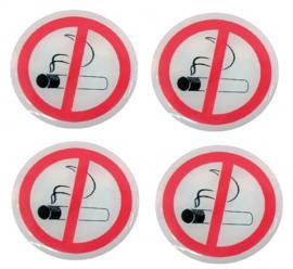 4 stuks Verboden te roken vinyl stickers 45mm