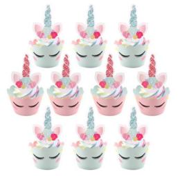 12 stuks cupcake omslagen + 12 toppers unicorn / eenhoorn