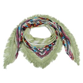 sjaal met Azteken design en franjes