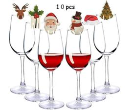 10 stuks kerstversiering voor glazen