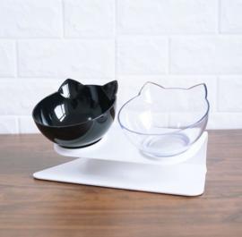 Design katten etensbak - en drinkbak dinerset zwart/wit