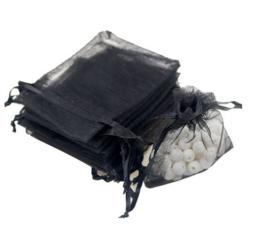 100 stuks organza zakjes 7x9 cm zwart