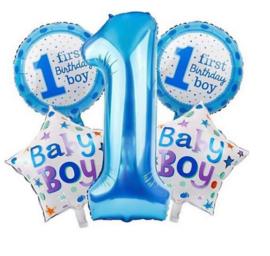 5 stuks helium ballonnen 1 jaar jongen blauw