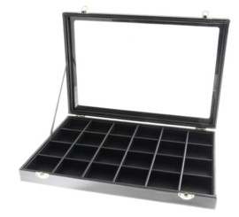 Display koffer met 24 vakken en deksel zwart lederlook - RETOUR PRODUCT
