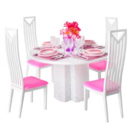 43- delige poppenhuis eetkamer set - dinner set met meubeltjes