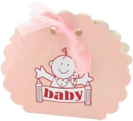 Geboorte verpakkingen voor traktaties roze 12 stuks