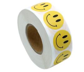 500 Smiley stickers geel op rol