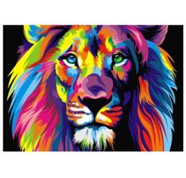 Diamond Painting - hobbypakket - kleurrijke leeuw 20x30 cm