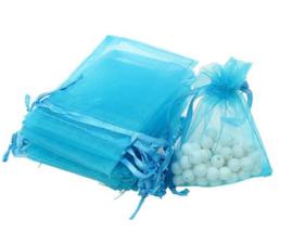 100 stuks organza zakjes blauw 7x9 cm