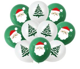 10 stuks ballonnen - kerstboom - kerstman - groen en wit