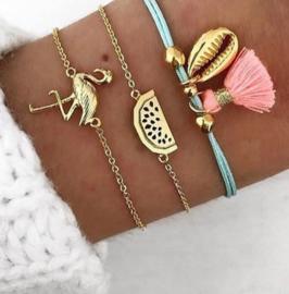 Set van 3 armbandjes  Bohemian flamingo - meloen - kwastje - schelp
