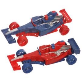 2 stuks raceauto pull back rood en blauw 18 cm