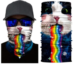 Motor bandana - colsjaal - buff sjaal - motor masker - ski masker - motor gezichtsmasker - ski gezichtsmasker kat regenboog