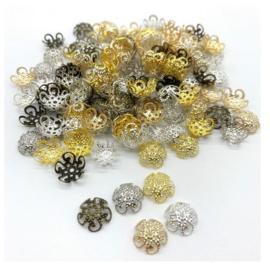 100 stuks kralenkapjes 10mm goud-zilver-brons kleur