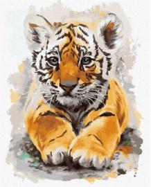 Schilderen op nummer tijger - welp (zonder frame)