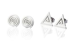 2 paar RVS stud oorbellen driehoek en circel