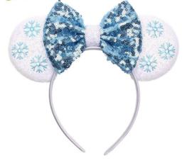 Diadeem Minnie Mouse blauw-wit pailetten sneeuwvlokken