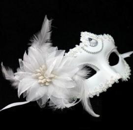 Venetiaans party masker wit met bloem - veren
