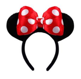 Diadeem Minni Mouse oren met rode strik - witte stippen