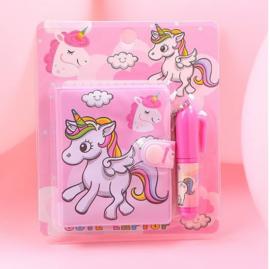 Mini notitieboekje unicorn 6x7 cm + pen (blauw of roze)