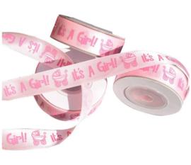 10 meter lint roze it's a girl - geboorte 1,5 cm