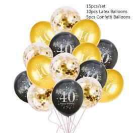 15 stuks ballonnen 40 jaar inclusief confetti ballonnen