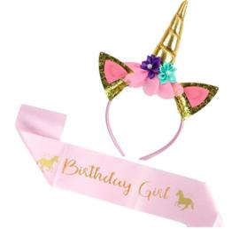 Unicorn - eenhoorn diadeem + sjerp Happy Birthday (goud-roze)