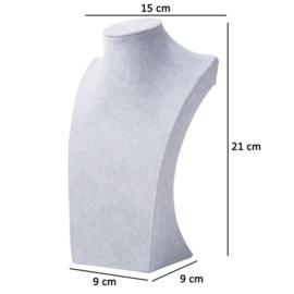Ketting display fluweel grijs 21 cm