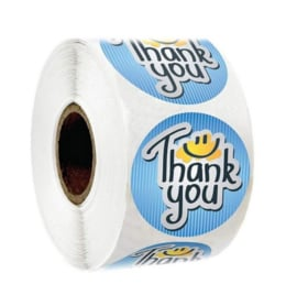 500 stickers op rol Thank You blauw 2,5 cm