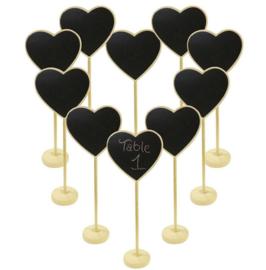 10 stuks mini krijtbordjes met standaard hart