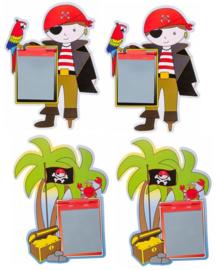 4 stuks tekenbordjes met pen piraat