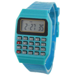 Horloge blauw met rekenmachine