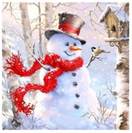 Diamond Painting sneeuwpop 15x15 cm - hobbypakket