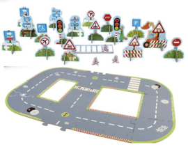 Grote verkeersset speelset wegdek grijs 18-delig + verkeersborden 22-delig